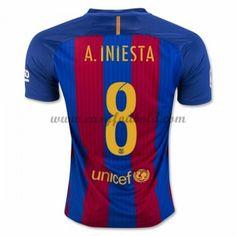 Fodboldtrøjer La Liga Barcelona 2016-17 A. Iniesta 8 Hjemmetrøje