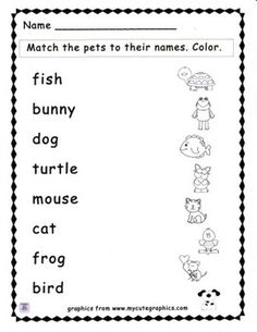 FREE!!! A simple matching activity to go along with a pet theme. Students match the pet names to the picture outlines and then color the pictures. Great for early finishers!