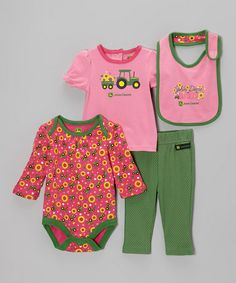 Take a look at this Medium Pink Bodysuit Set - Infant by John Deere on #zulily today!