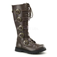 Demonia STEAM-20 20 Eyelet Steampunk 5 Strap S/T Blk Leather Calf BT Zipper