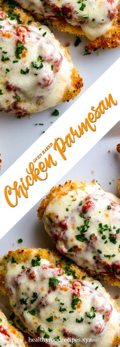 Easy, delicious and savory recipes for oven baked chicken parmesan. Let's try this amazing recipe at your home. Oven Baked Chicken Parm Recipe, Parmesan Chicken Breast Recipe, Baked Garlic Parmesan Chicken, Gourmet Chicken, Yummy Chicken Recipes, Baked Chicken Breast, Allrecipes, Lemon, Martha Stewart