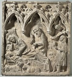 The Nativity France, Ile de France or Normandy, 14th century Sculpture Sandstone 36 1/2 x 34 x 4 in. (92.71 x 86.36 x 10.16 cm) William Randolph Hearst Collection (50.33.9)