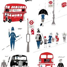 Designer Lizzie Allen has created a beautiful and quirky wallpaper featuring London buses and black taxis. Screen-printed by hand, this lovely Fifties-inspired paper is perfect for accent walls and alcoves. London Transport Museum, Black Cab, Red Bus, Print Wallpaper, Quirky Wallpaper, London Bus, Museum Shop, Design Lab, Screen Printing