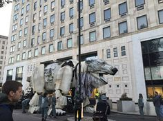 RIGHT NOW: Activists & giant polar bear protest Arctic oil outside Shell London HQ http://grnpc.org/TWArctic #ArcticRoar