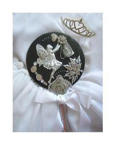 Wedding Accessory Vintage Hand Mirror Fantasy by LovesParisStudio,