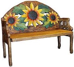 The perfect combination of beauty and utility, this stunning sunflower bench will add color and charm to any seating area. Hand carved and hand painted by highly skilled artisans in central Mexico, these benches are heirloom-quality, to be passed down fro Painted Chairs, Hand Painted Furniture, Sunflower Art, Sunflower Images, Crochet Sunflower, Sunflower Garden, Sunflower Kitchen Decor, Mexican Furniture, Bench Furniture