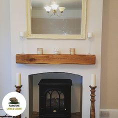 Lightly worked Oak Mantle Beam in rennovated home Inset Fireplace, Wood Mantel Shelf, Wood Mantle Fireplace, Oak Mantle, Floating Fireplace, Wooden Mantel, Rustic Floating Shelves, Fireplace Mantle, Brick Fireplaces