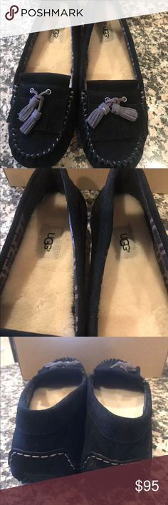 UGG Lizzy Moccasin Slipper, Black Suede, Size 10 Authentic UGG Lizzy Moccasin Slipper, Black Suede, Size 10, Brand New BOX HAS NO LID UGG Shoes Moccasins