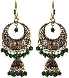 Fashion Earring for young women, Green Dangle & Drop Earring, Gift for young women, Indian latest, Fashion jewellery, top in delhi, fashion hub, Collage wear