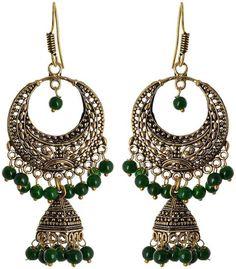 Fashion Earring for young women, Green Dangle & Drop Earring, Gift for young women, Indian latest, Fashion jewellery, top in delhi, fashion hub, Collage wear - Waama Jewels Earring