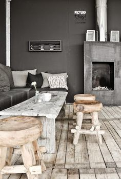Room styling Muted Grey Charcoal Home Design Minimal Lounge Living Interior House Design, Rustic House, Home And Living, House Interior, Home Living Room, Furniture, Home, Home Deco, Home Decor