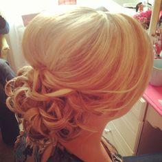 Bride bridal wedding hair up style curls curly bun chignon loose soft