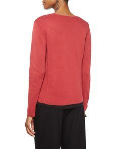 TAFV9 Eileen Fisher Silk Organic Cotton Interlock Angled Jacket, Petite