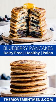 This easy and healthy blueberry pancakes recipe is made with a dairy free buttermilk base which makes for an incredibly moist and fluffy pancake. They are the best gluten free blueberry pancakes and made with coconut and arrowroot flour. Buttermilk Pancakes Easy, Healthy Blueberry Pancakes, Gluten Free Blueberry, Paleo Pancakes, Best Paleo Recipes, Dairy Free Recipes, Whole Food Recipes, Dessert Recipes, Primal Recipes