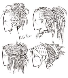 Drawing Anatomy Reference Dreadlocks Reference Sheet by Kibbitzer on DeviantArt - Drawing Poses, Drawing Tips, Hair Styles Drawing, Braid Drawing, Girl Hair Drawing, Long Hair Drawing, Drawing Style, Drawing Ideas, Anatomy Reference