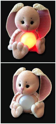 Amigurumi Glow Bunny Lamp Crochet Free Pattern – Amigurumi Toy Softies Free Patterns Source by bilgesanli Crochet Easter, Bunny Crochet, Crochet Baby Toys, Crochet Gifts, Crochet Amigurumi Free Patterns, Free Crochet, Crochet Rabbit Free Pattern, Knitting Patterns, Bear Patterns