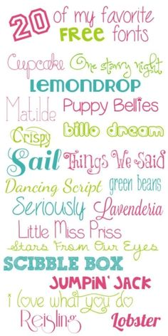 TidyMom Favorite Free Fonts