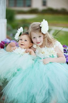 Couture flower girl dresses in aqua / Tiffany blue.