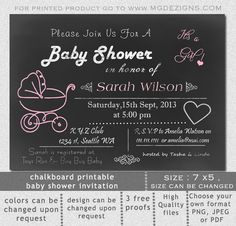 Printable Pink chalkboard Baby Shower Invitation