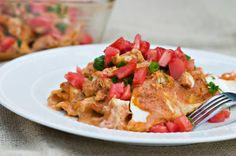 Blend salsa and cottage cheese for a protein-packed enchilada sauce