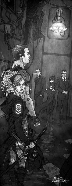"""""""Dark Alley Meet"""" by artist Gordon Bennetto...Interior art for Shadowrun: Storm Front"""