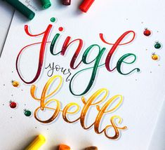 Jingle your Bells 🎄Day of the challenge, hosted by , and ❤️ * * * Brush Lettering Worksheet, Brush Lettering Quotes, Brush Pen Calligraphy, Modern Calligraphy, Hand Lettering, December Challenge, Lettering Tutorial, Letter Art, Jingle Bells