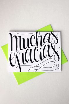 """Send a lovely thank you card to your Spanish speaking family or friend with this card that features my hand drawn, original lettering. ♥ DETAILS - s i z e : (1) card measuring approx. 4.25"""" x 5.5"""" (wh"""