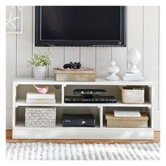PB Teen Stack Me Up Media Base, Antique White at Pottery Barn Teen -... (€38) ❤ liked on Polyvore featuring home, furniture, storage & shelves, wooden book shelves, modular bookshelves, wood tv stand, wood bookshelf and wood media stand