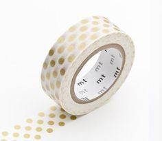 Washi Tape, MT Tape, Christmas Washi Tape, Holiday, Large Gold Polka Dots, Japanese Washi Tape, Party, Wedding Decorations, Birthday Decor