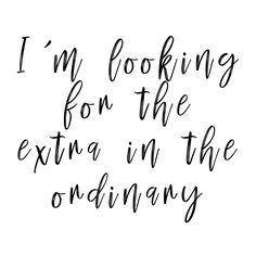 I'm looking for the extra in the ordinary