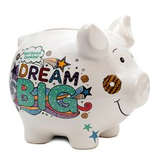 """COOKIE PIGGY BANK $8.00 #24982 This little piggy loves Girl Scout Cookies! An adorable face, curly tail and colorful graphics make this bank hard to resist. Ceramic. 4 1/2"""" H."""