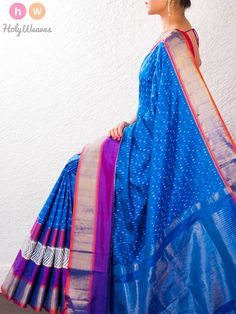 #Blue #Silk #Pochampally #Saree #HolyWeaves
