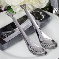 Yours Truly Perforated / Slotted Spoon Favor | eFavorMart / Our perforated/slotted spoon is a perfect favor for cooking-theme bridal showers, kitchen-theme bachelorette, or a romantic wedding that calls for an extra dash of romance and love. The brilliantly crafted stainless steel spoon with slots/ holes in the bowl, and a lovely heart shaped handle makes an ideal favor as well as a very functional kitchen tool. Let this spoon inspire your guests by reminding them of happy frying times in…