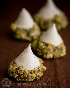 Meringue Acorns with Salted Pistachios and Chocolate. I could cozy up with a couple dozen of these!