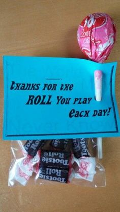 Faculty Meeting treats: Thanks for the ROLL you play each day! ~The world may never know! http://www.giftideascorner.com/gifts-coworkers/