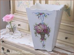 Pretty waste basket from Christie Repasy.  Stacy's Shabby Shoppe blog.