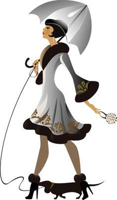 Illustration about Vector illustration of fashionable woman on walk with dog. Illustration of clothes, dress, umbrella - 11061434 Retro Mode, Mode Vintage, Vintage Art, Vintage Ladies, Art Deco Illustration, Illustrations, Vintage Images, Vintage Posters, Art Deco Stil