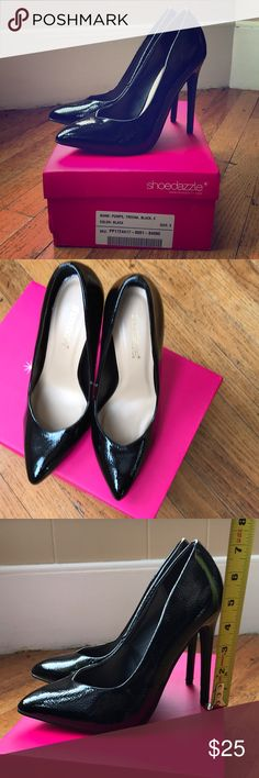 """NIB Treena Pointed toe pump NIB Faux- patent pump with 4.75"""" heel. Super cute pump just wrong size for me! My loss is your gain! This shoe could work for the office, or a girls night out! Smoke free home! Never been worn! Make me an offer! Bundle and save! Shoe Dazzle Shoes Heels"""