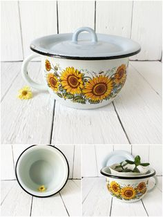 Vintage Soviet light blue Enamel Chamber Pot with sunflowers, Made in USSR, Primitive Rustic Farmhouse Kitchen decor, 70s,Soviet Union by SmetanaVintage on Etsy https://www.etsy.com/listing/231060546/vintage-soviet-light-blue-enamel-chamber