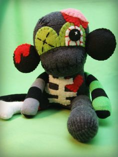 Mini Zombie Sock Monkey Monster  Halloween by AintQuiteRight, $26.00