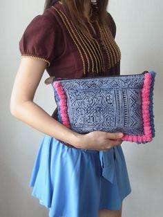 Pom Poms Pattern Clutch Hill Tribe Fabric Fashionable Purse Handmade Thailand (BG066) via Etsy