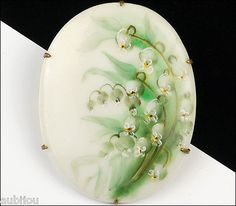 Vintage Porcelain Hand Painted Floral White Lily Of The Valley Flower Brooch Pin