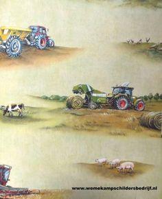 Tractor behang 293203 Stoer behang met tractor en boerderij dieren.