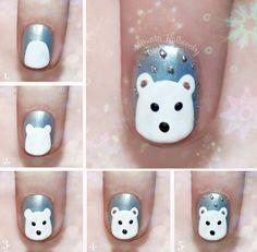 Nail Art de osito polar kawaii - http://xn--decorandouas-jhb.com/nail-art-de-osito-polar-kawaii/