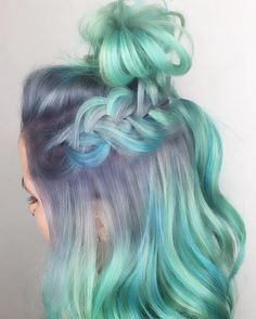 """Here's What You Need To Know About """"Color-Melting"""" Your Hair Green pastel purple braided dyed hair color idea inspiration Hair Dye Colors, Cool Hair Color, Pastel Hair Colors, Hair Colour, Silver Hair Colors, Fashion Hair Color, Matrix Hair Color, Pastel Fashion, Ombre Hair Color"""