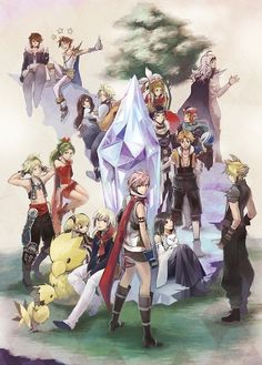 Squall Leonhart, Bartz Klauser, Garnet, Zidane Tribal, Onion Knight, Cecil Harvey, Warrior of Light, Firion, Terra Brantford, Tidus, Vaan, Yuna, Lightning Farron, and Cloud Strife. Fan art.  Final Fantasy Dissidia 012 [Deodecim]
