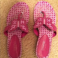 PRICE DROP!VERY gently used Coach Flip Flops I'm selling a pair of VERY gently used Coach Flip Flops. I think I tried them on and wore them around the house until I decided they didn't go with my outfit- Coach Shoes