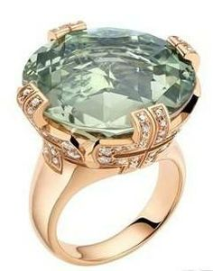 Bvlgari $11,000 Rose Gold Ring,mounted green crystal and dense diamond