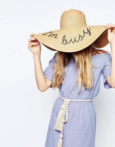 Image 1 of ASOS Oversized Straw Floppy Hat With I'm Busy