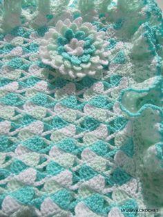 Crochet PATTERN Baby Blanket Ruffle Border Turquoise Blanket